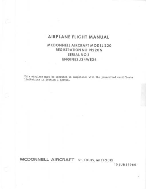 Flight Manual for the McDonnell 119 220