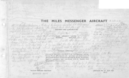 Flight Manual Pilots Notes for the Miles M.38 Messenger