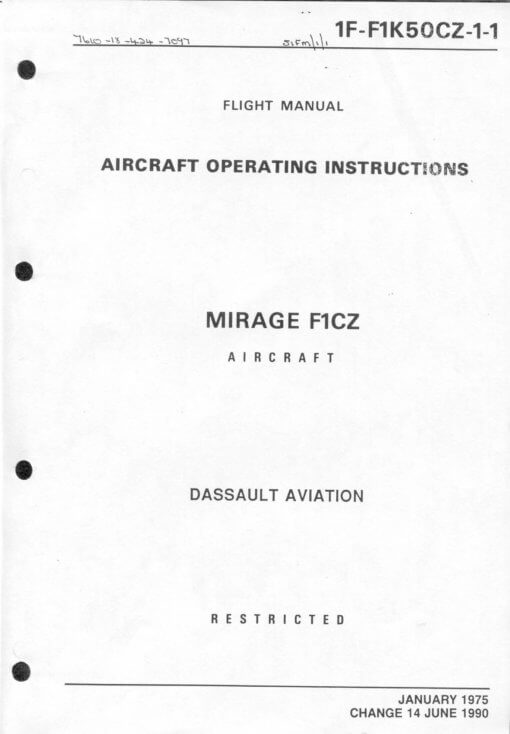Flight Manual for the Dassault Mirage F1