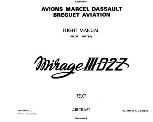 Flight Manual for the Dassault Mirage 3 and Mirage 5