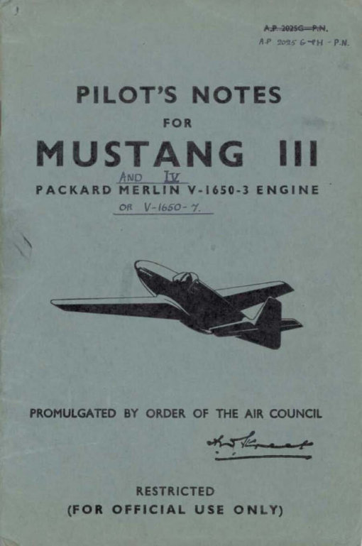 Flight Manual for the North American P-51 Mustang