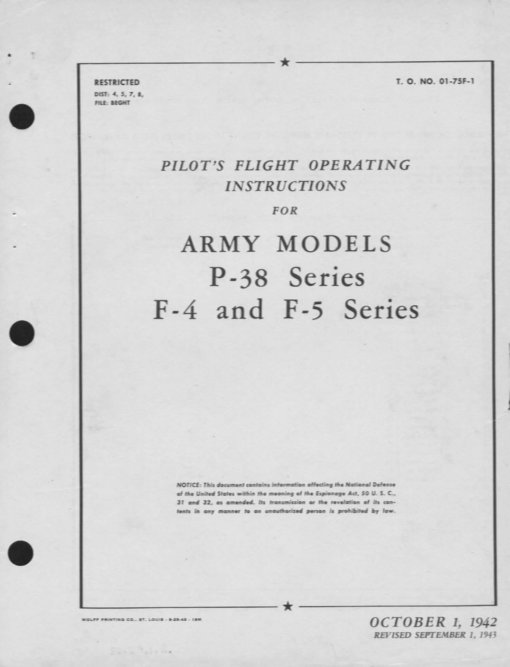 Flight Manual for the Lockheed P-38 Lightning