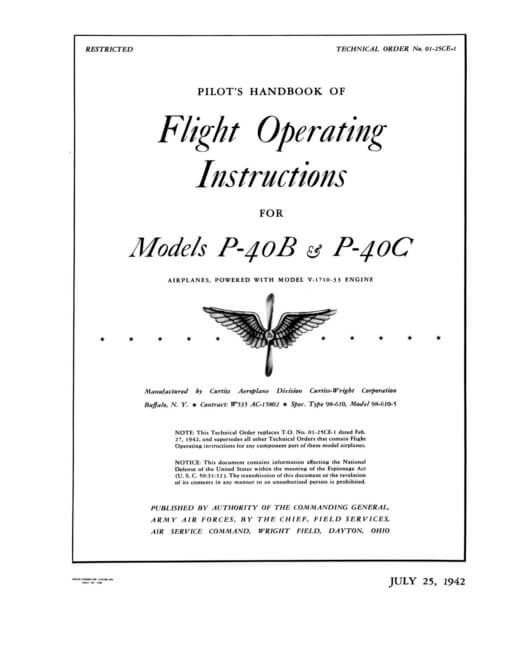 Flight Manual for the Curtiss YP-37 and P-40 Kittyhawk