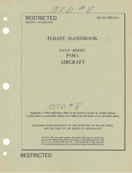 Flight Manual for the Martin P5M Marlin