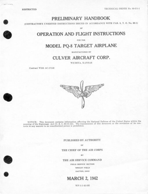 Flight Manual for the Culver PQ-8 and PQ-14