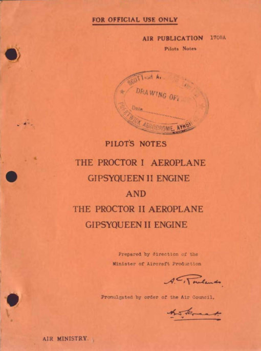 Flight Manual for the Percival Proctor