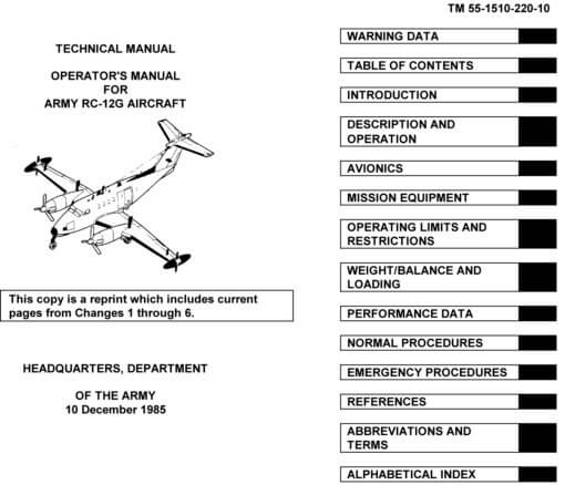 Flight Manual for the Beechcraft C-12 T-44 King Air