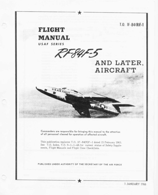 Flight Manual for the Republic F-84F Thunderflash
