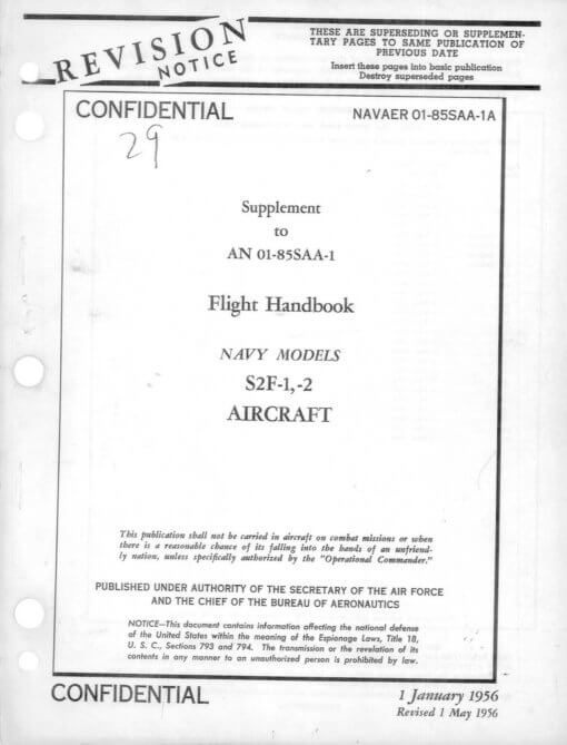 Flight Manual for the Grumman S-2 Tracker