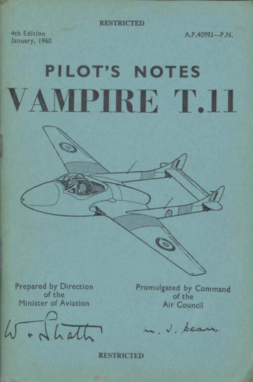 Flight Manual Pilots Notes for the DH100 and DH115 Vampire