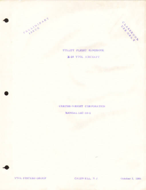Flight Manual for the Curtiss X-19