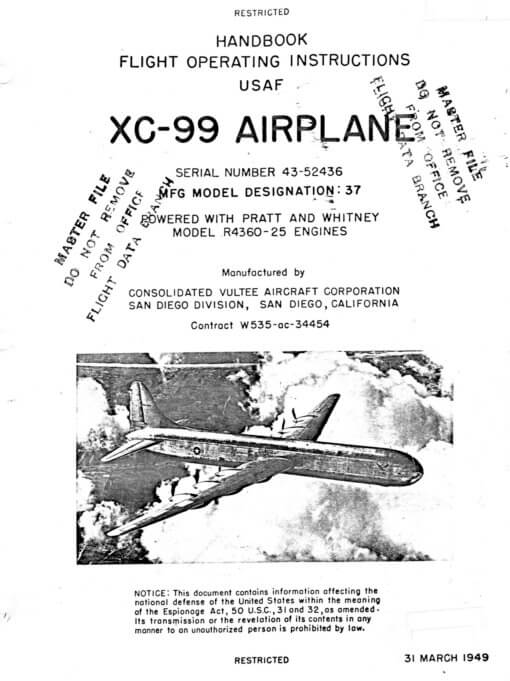 Flight Manual for the Convair XC-99