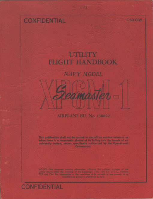 Flight Manual for the Martin XP6M Seamaster