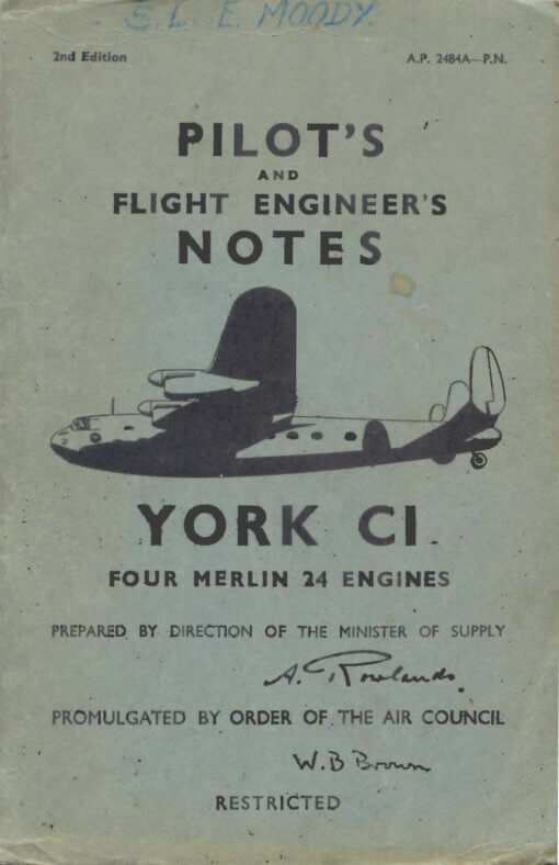Flight Manual for the Avro 685 York