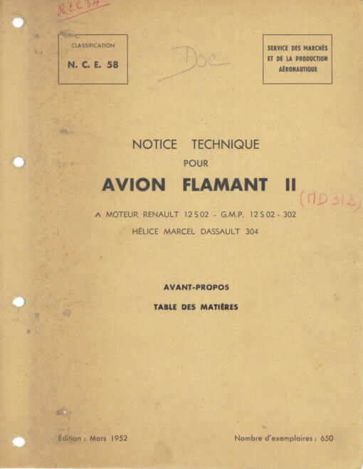 Flight Manual for the Dassault Flamant