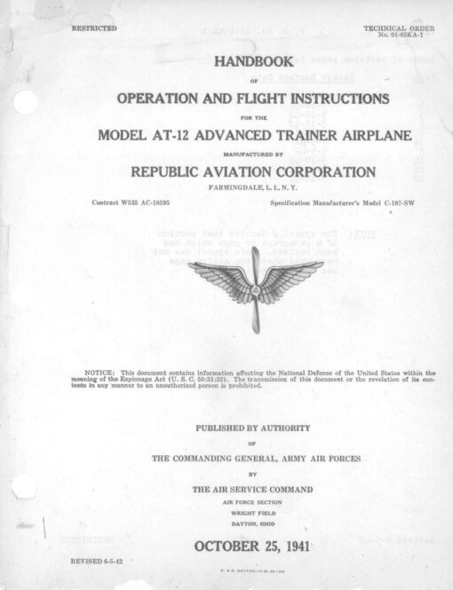 Flight Manual for the Republic Seversky AT-12 Guardian
