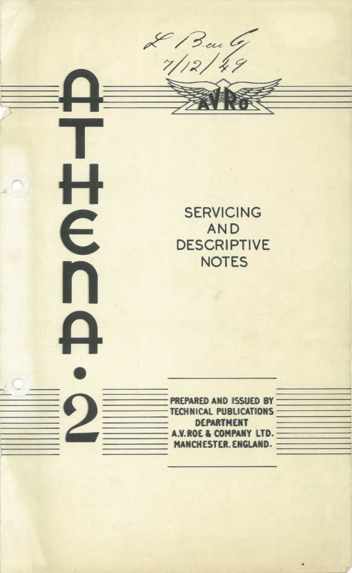 Flight Manual for the Avro 701 Athena