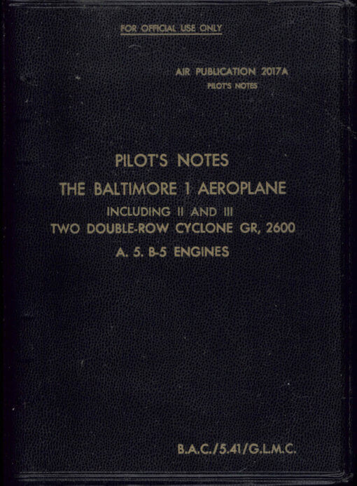Flight Manual for the Martin A-30 Baltimore