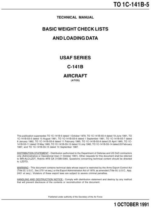 Flight Manual for the Lockheed C-141 Starlifter