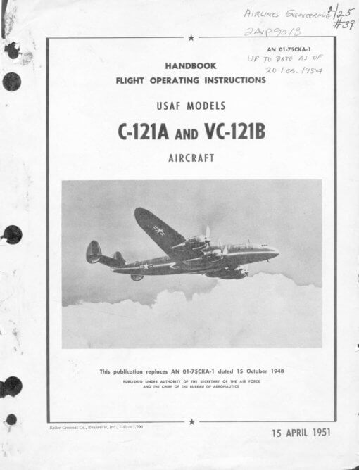 Flight Manual for the Lockheed C-121 Super Constellation