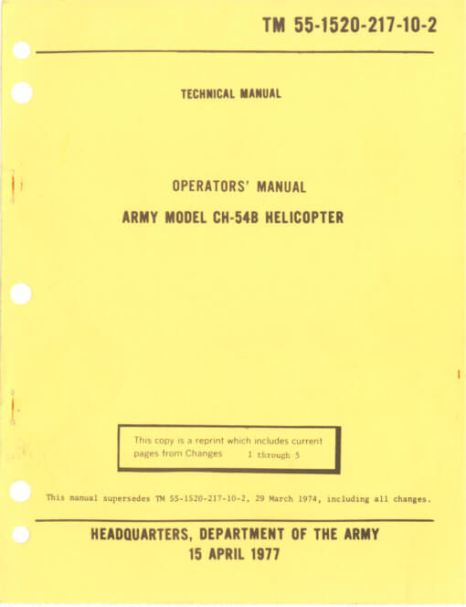 Flight Manual for the Sikorsky CH-54 Tarhe