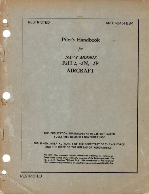 Flight Manual for the McDonnell F2H Banshee