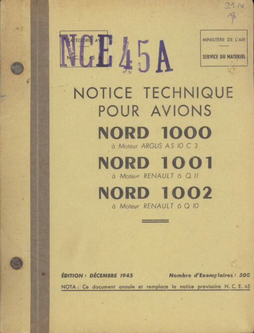 Flight Manual for the Nord 1000 1001 1002 Pinguoin