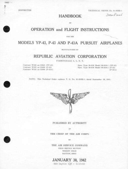 Flight Manual for the Republic Seversky P-43