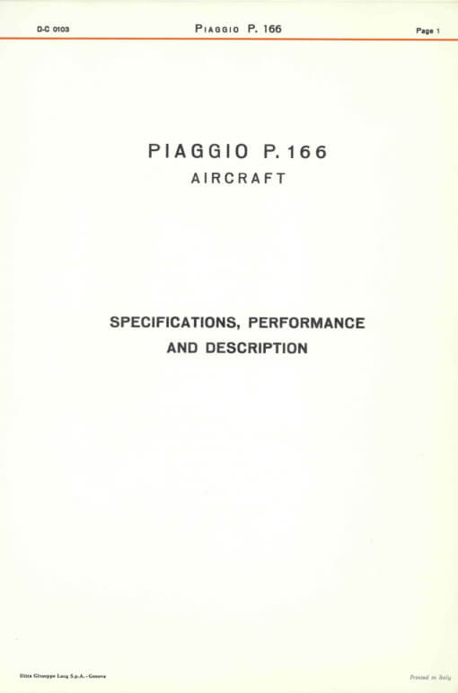 Flight Manual for the Piaggio P166 Portofino