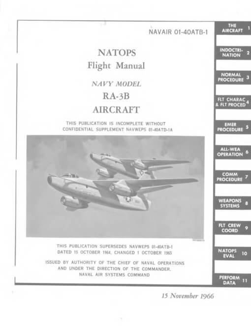 Flight manual for the Douglas A-3 Skywarrior