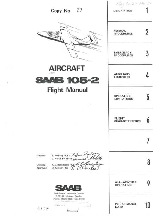 Flight Manual for the Saab 105 Sk60