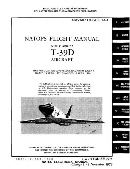 Flight Manual for the North American T-39 Sabreliner
