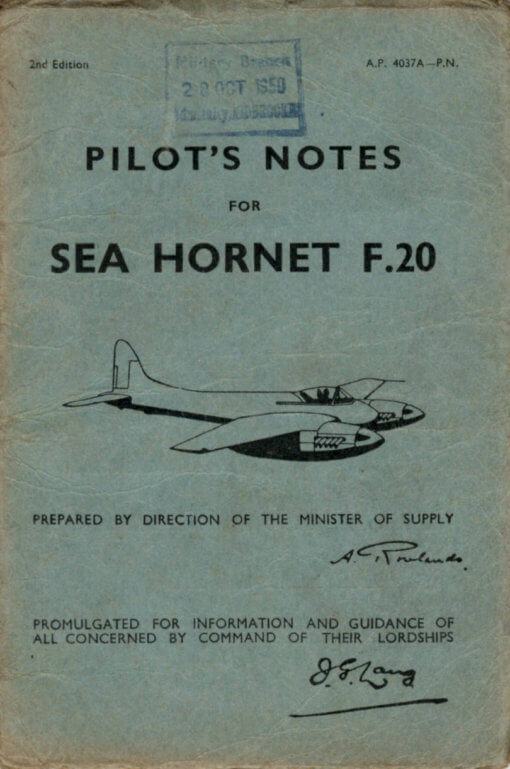 Flight Manual for the De Havilland DH103 Hornet and Sea Hornet
