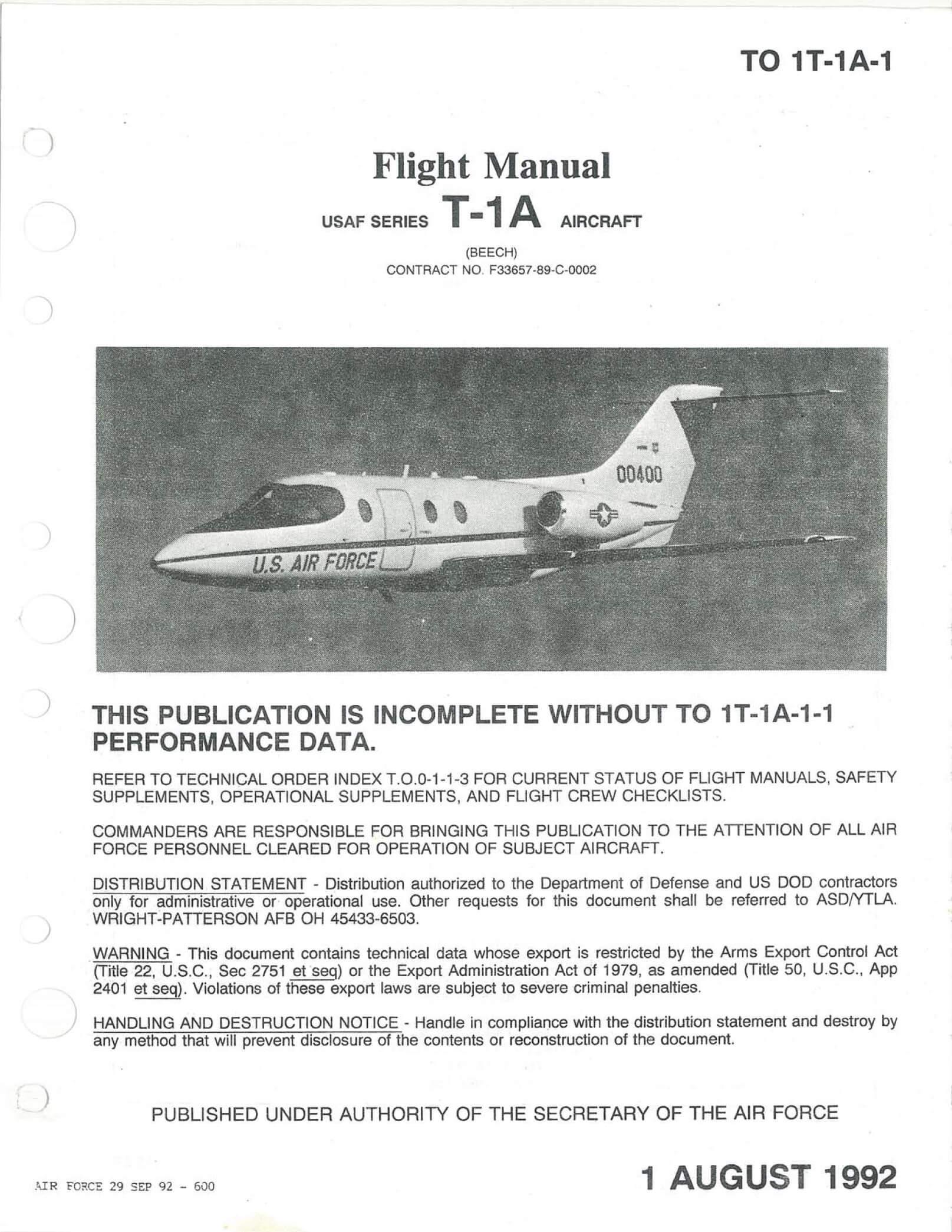 Flight Manual for the Beechcraft T-1A Jayhawk