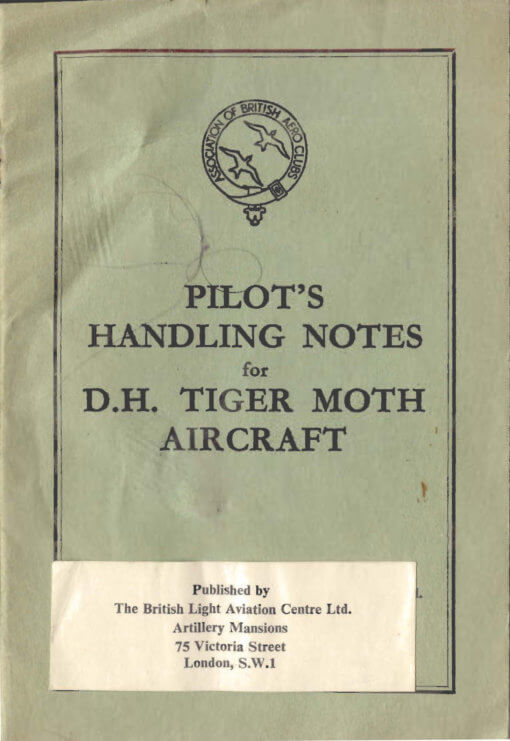 Flight Manual for the De Havilland DH82 Tiger Moth