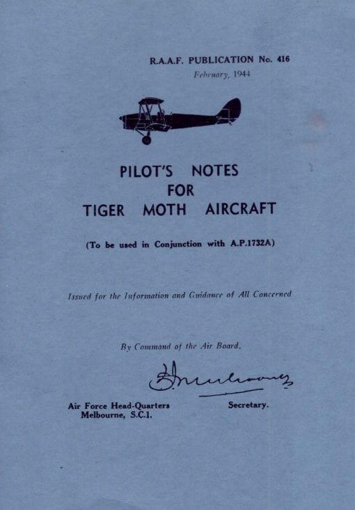 Flight Manual for the De Havilland DH82 Tiger Moth