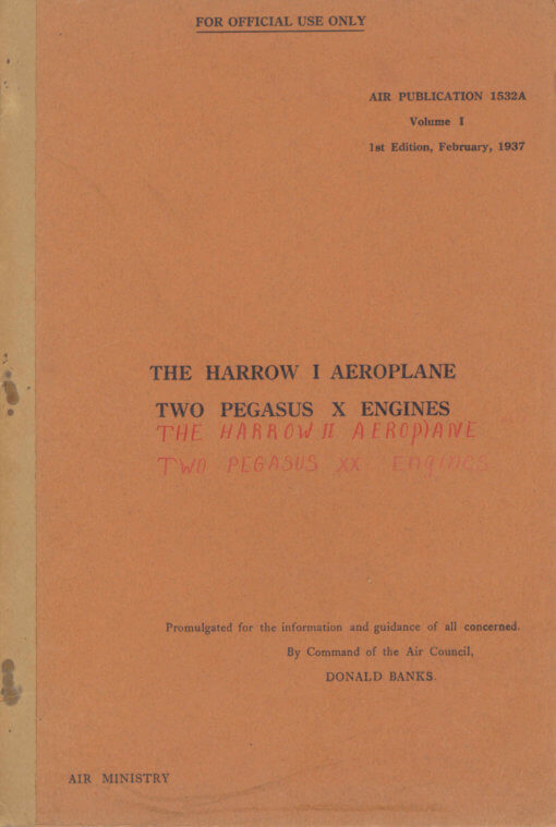 Flight Manual for the Handley Page Harrow