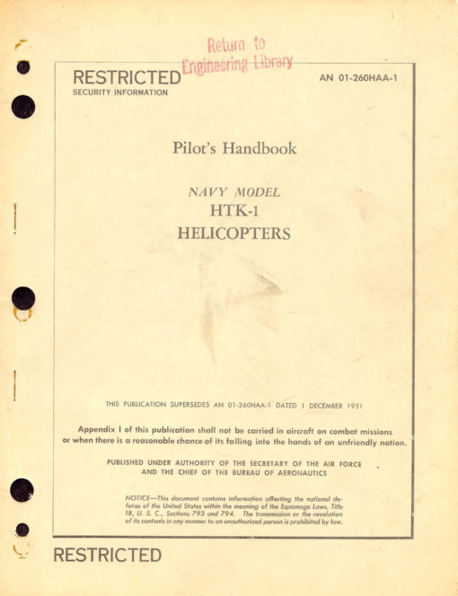 Flight Manual for the Kaman HOK Huskie