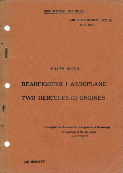 Flight Manual for the Bristol Beaufighter