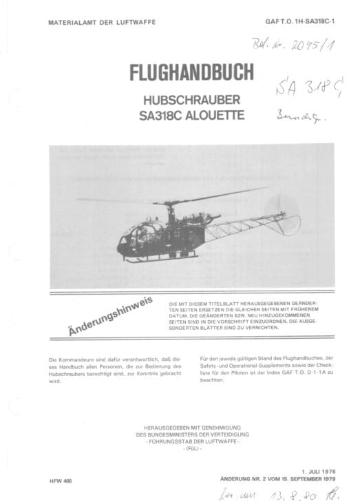 Flight Manual for the Aerospatiale Alouette II