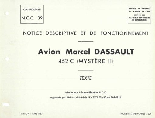 Flight Manual for the Dassault Mystere