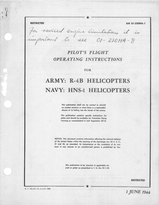Flight Manual for the Sikorsky R-4B HNS-1 Hoverfly
