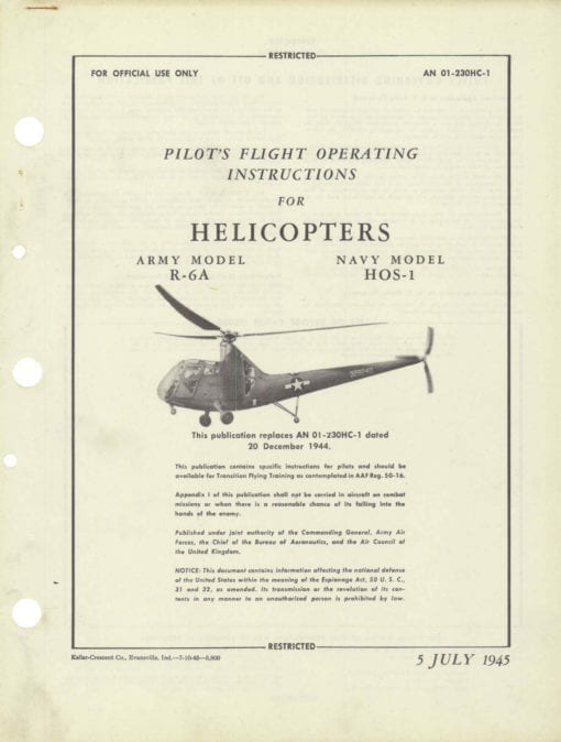 Flight Manual for the Sikorsky Model 49 R-6A HOS-1 Hoverfly