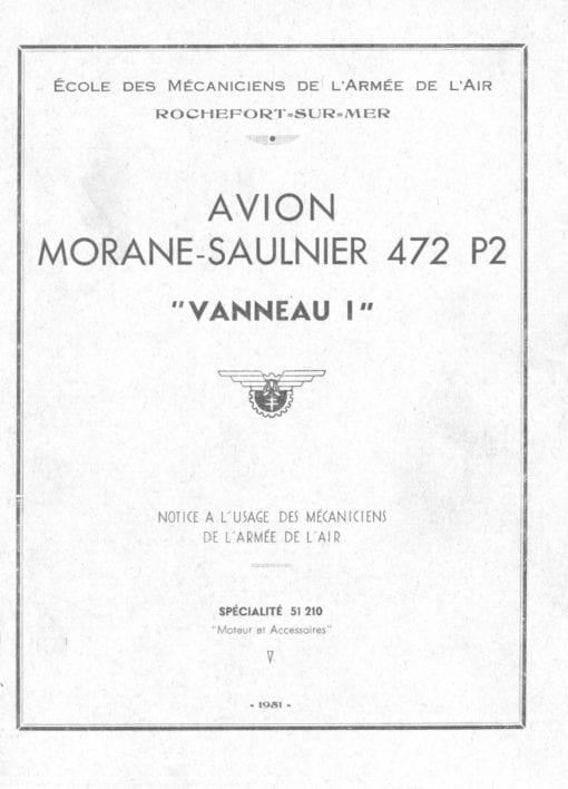 Flight Manual for the Morane-Saulnier MS472 Vanneau