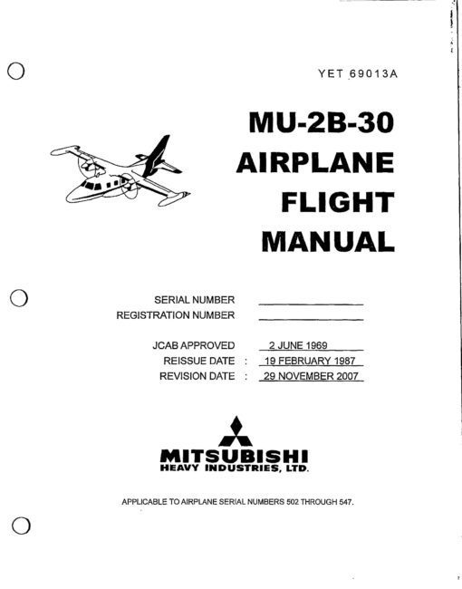 Flight Manual for the Mitsubishi Mu-2